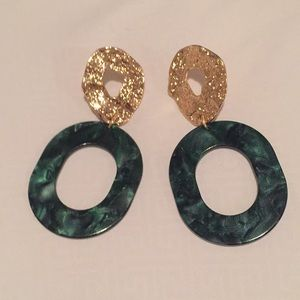 Green and gold resin earrings